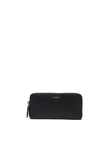 Saint Laurent Paris Zip Around Wallet in Black