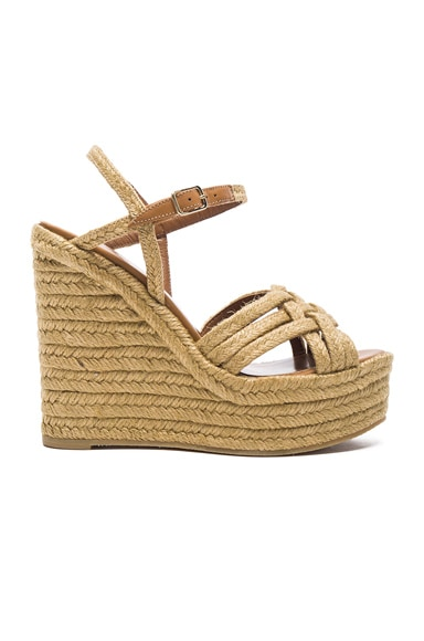 Braided Leather Platform Espadrilles