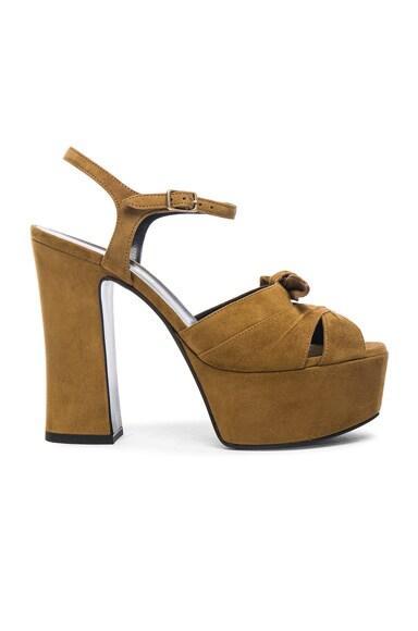 Saint Laurent Suede Candy Heels in Tan