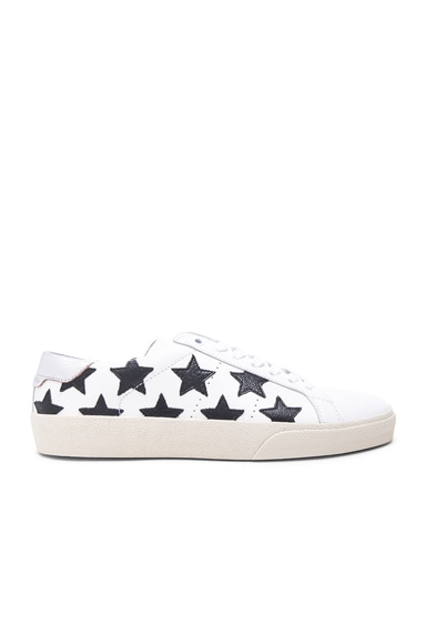 Saint Laurent Court Classic Star Leather Sneakers in Black & White