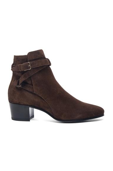 Saint Laurent Wyatt Suede Buckle Boots in Cafe