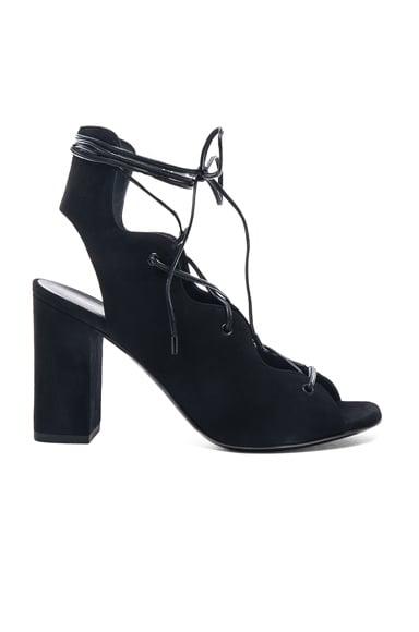 Saint Laurent Babies Suede Lace Up Heel Sandals in Black