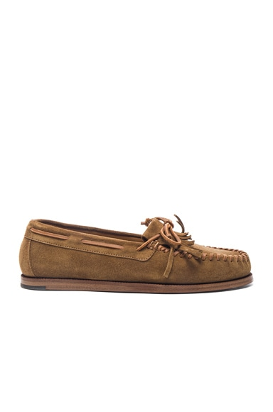 Saint Laurent Suede Indian Moccasins in Tan