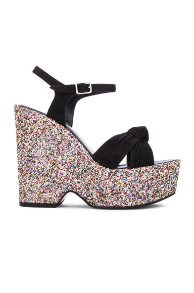 Saint Laurent Glitter Candy Sandals in Black & Multi