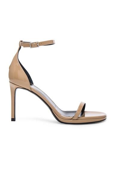 Saint Laurent Patent Leather Jane Sandals in Darker Nude