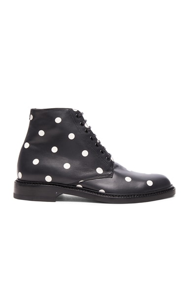 Saint Laurent Leather Polka Dots Lolita Boots in Black & White