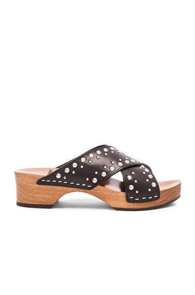 Saint Laurent Studded Leather Sabot Sandals in Black