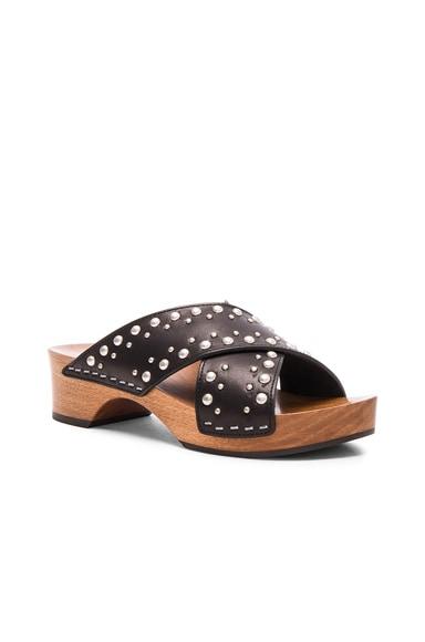 Studded Leather Sabot Sandals