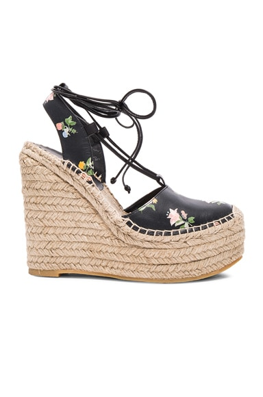 Saint Laurent Platform Floral Espadrilles Multi in Black