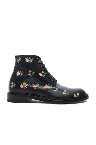 Grunge Flower Leather Lolita Boots