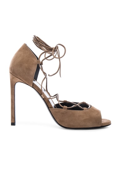 Saint Laurent Suede Kate Lace Up Heels in Chamois