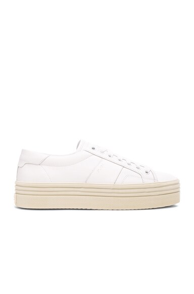 Saint Laurent Leather Court Classic Platform Sneakers in Off White