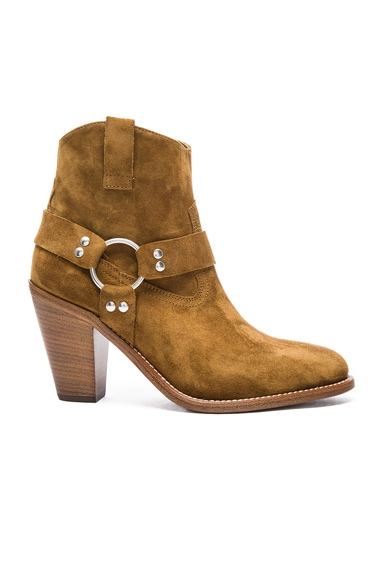 Saint Laurent Suede Curtis Harness Boots in Tan