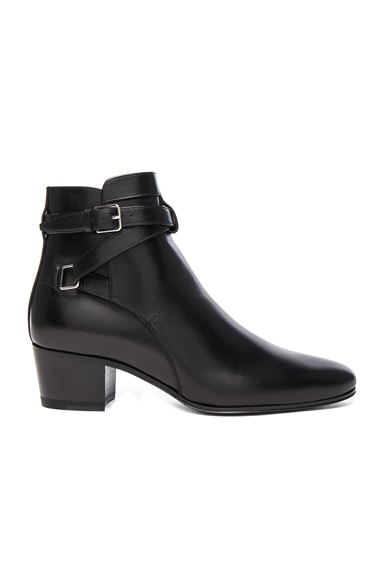 Saint Laurent Leather Blake Buckle Boots in Black