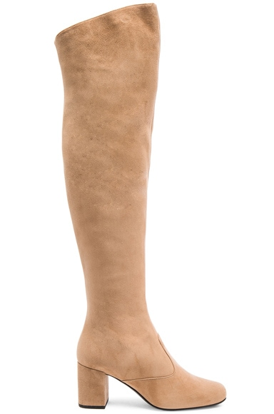 Saint Laurent Suede BB Thigh High Boots in Chamois