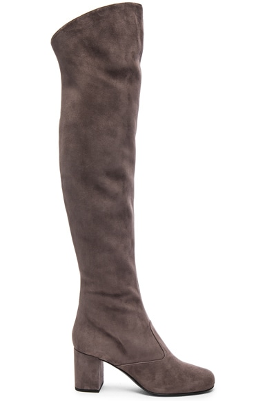 Saint Laurent Suede BB Thigh High Boots in Dark Anthracite