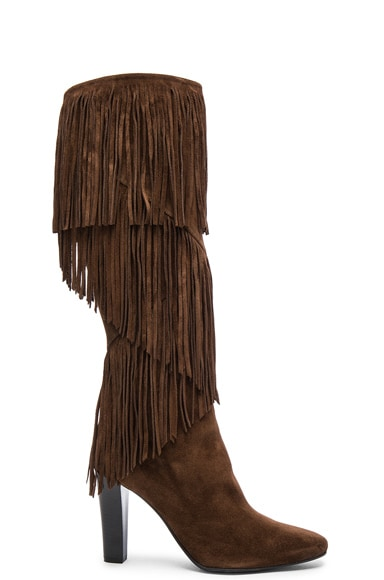 Saint Laurent Suede Lily Fringe Boots in Coffy