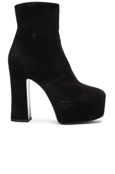 Saint Laurent Suede Candy Boots in Black