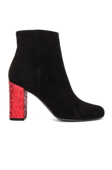 Saint Laurent Babies Suede & Glitter Boots in Black & Red