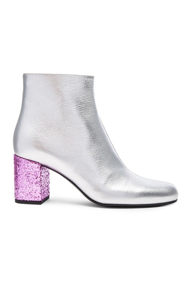 Saint Laurent Metallic Leather & Glitter Boots in Platinum & Vegas Pink