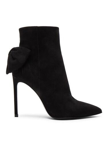 Saint Laurent Paris Skinny Bow Suede Booties in Black