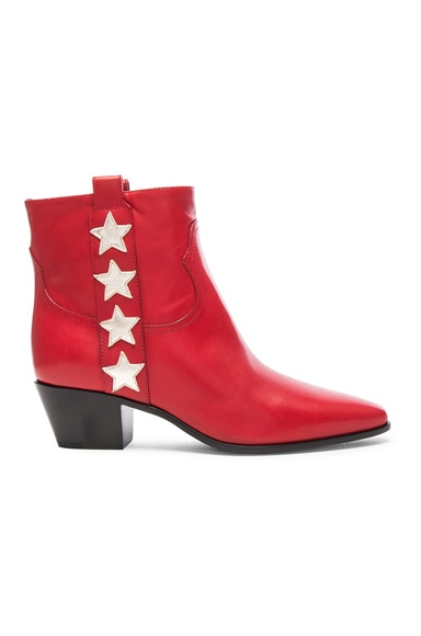 Saint Laurent Rock Leather Boots in Red & Pale Gold
