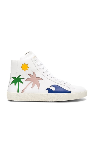 Saint Laurent Court Classic High Top Sea Leather Sneakers in Multi