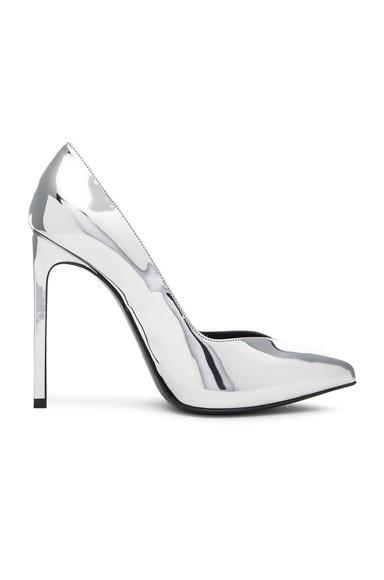 Saint Laurent Leather Paris Skinny Heels in Platinum