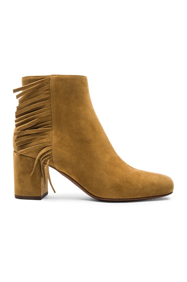 Saint Laurent Suede Babies Fringe Zip Boots in Tan