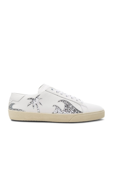 Saint Laurent Sea, Sex & Sun Court Classic Leather Sneakers in Off White & Platinum