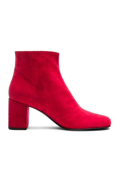 Saint Laurent Babies Suede Boots in Red