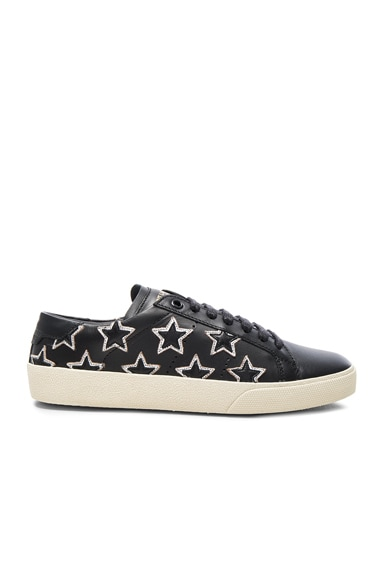 Saint Laurent Court Classic Star Sneakers in Black & Silver