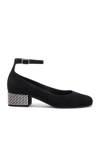 Saint Laurent Babies Suede Studded Ankle Strap Flats in Black