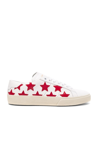 Saint Laurent Court Classic Leather Sneakers in Rouge & White