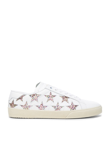 Saint Laurent Leather Court Classic Glitter Star Sneakers in Off White