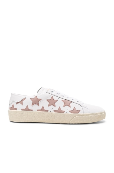 Saint Laurent Leather Court Classic Star Sneakers in Off White & Rose Antic