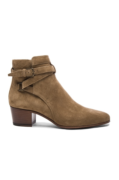 Saint Laurent Suede Blake Boots in Light Cigare