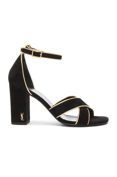 Saint Laurent Babies Heel in Black & Gold