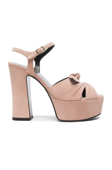 Saint Laurent Candy Suede Platforms in Rose Antic