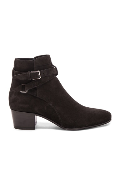 Saint Laurent Suede Blake Boots in Lavagna