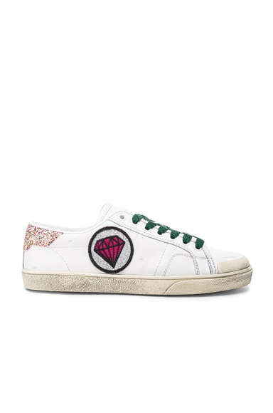 Saint Laurent Court Classic Patch Sneaker in Off White & Multi Color