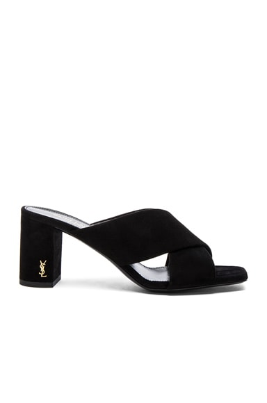 Saint Laurent Loulou Suede Mules in Black