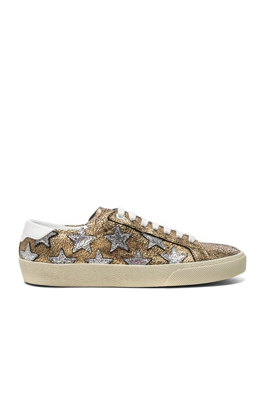 Saint Laurent Leather Court Classic Star Sneakers in Gold, Optic White & Silver
