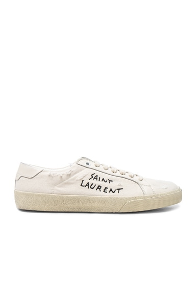 Saint Laurent Leather Court Classic Logo Sneakers in Optic White & Black