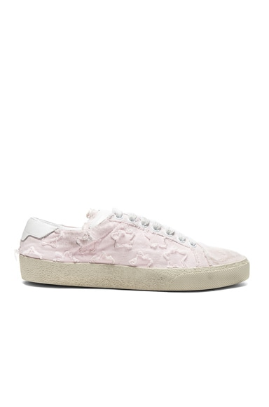Saint Laurent Court Classic Star Leather Sneakers in Washed Pink & Optic White