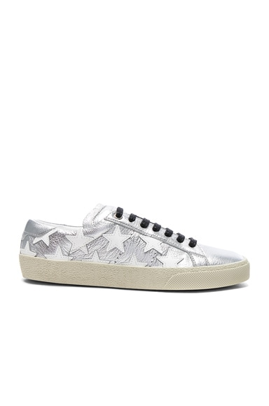 Saint Laurent Court Classic Star Leather Sneakers in Silver & Optic White