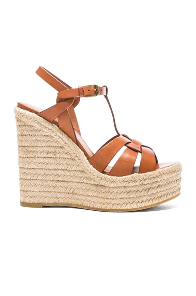 Saint Laurent Leather Espadrille Wedges in Amber
