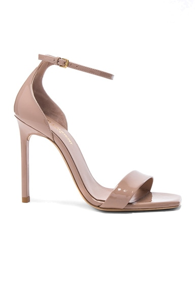 Saint Laurent Patent Leather Amber Ankle Strap Heels in Nude Pink