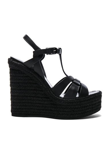 Saint Laurent Leather Espadrille Wedges in Black
