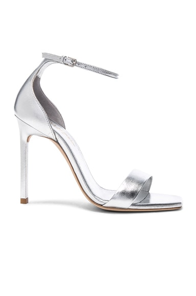 Metallic Leather Amber Ankle Strap Heels